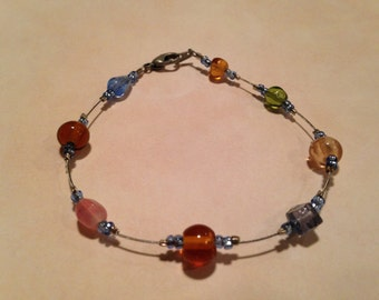 Multicolored beaded wire bracelet