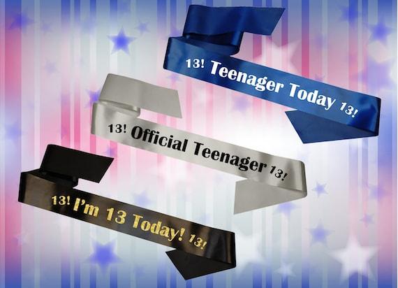 Personalised 13th Birthday Teenager Rhinestone Sash Party Girl Boy Body Banner