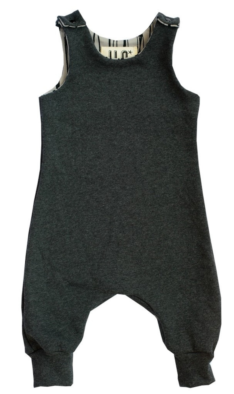 Organic Brushed Cotton Fleece Romper Overalls Dungarees made in the UK in Charcoal