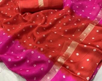 46b81266ea795 Free Shipping New Pink Color Kota Silk Saree Beautiful Bandej Bandhani  Printed Pattern Indian Clothing Antique Sarong Wedding Wear 5 Yards