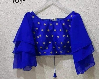 Designer Readymade BUTTA New Banglori Silk Wedding Saree Stitched Blouse Crop Sari Top Work For Women