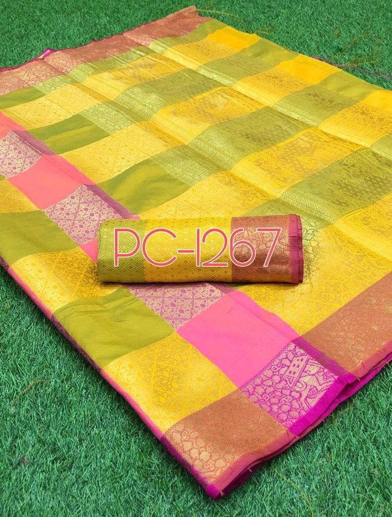 Free Shipping Multi-Colored Banarasi Art Silk Saree Beautiful Floral weaved Pattern Zari Indian Clothing Antique Sarong Wedding Wear 5 Yards