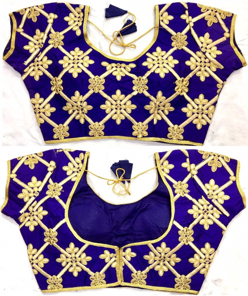 BLUE Embroidered Blouse Floral Ready Made Blouse Banglori Silk Blouse Crop Top Choli Saree Blouse Tunic Indian Clothing Wedding Blouse
