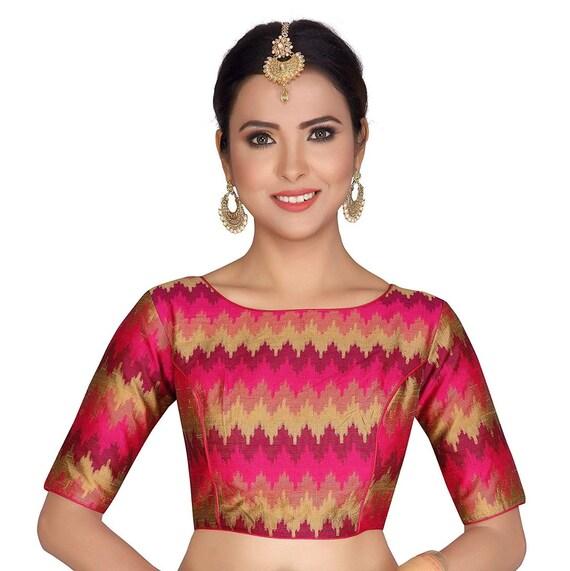 Beautiful Multicolor Poly Art Silk Ready made Choli Stitched Saree Blouse Top Tunic Blouse For Bridal Bridesmaid Wedding Wear Sari Blouse