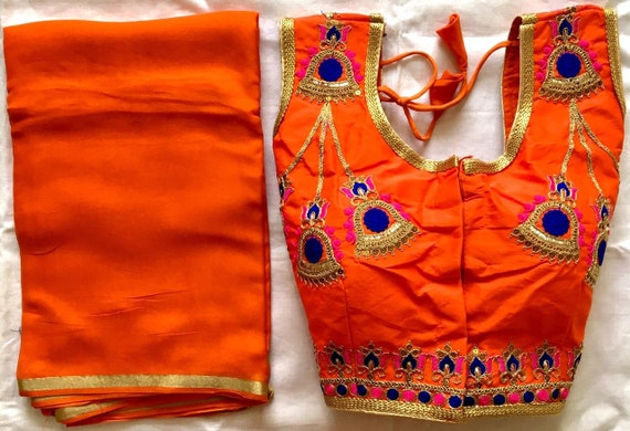 Saree Choli Crop Top Sari Wedding /& Party Wear Women Combo Free Shipping Ready Made Blouse with  Saree Combo Floral  Embroidered Blouse