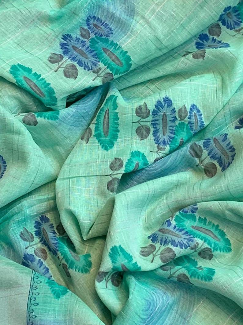 LINEN Saree Free Shipping Linen Saree with Running Blouse Indian Clothing Pure Linen Handloom Sarees Linen Organic Sari Linen Handmade Saree