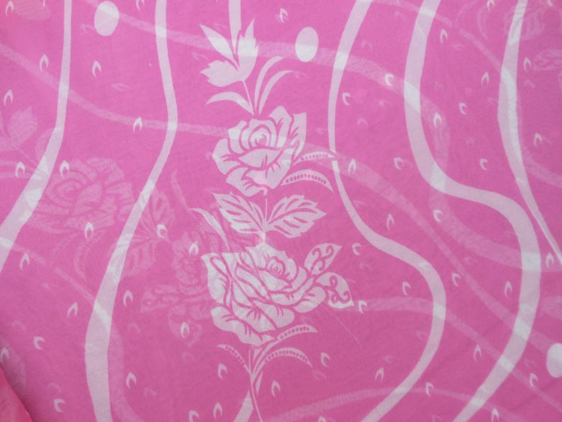 Free Shipping Vintage Pink Saree Georgette Floral Printed Fabric Indian Decor Clothing Sarong Wrap Party Wear 5 Yard RD243