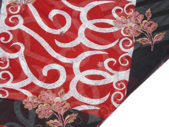 Port Vintage noir Saree Georgette Sari indien brodé de verges paillettes vêtements Antique Sarong Wrap mariage usure 5 verges de RD183 08fa5f