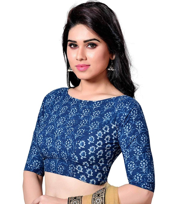Traditional Cotton Readymade Blouse Stitched Wedding Christmas Party Wear Bagru Print Indianattire BOAT NECK Crop Sari Top For Women