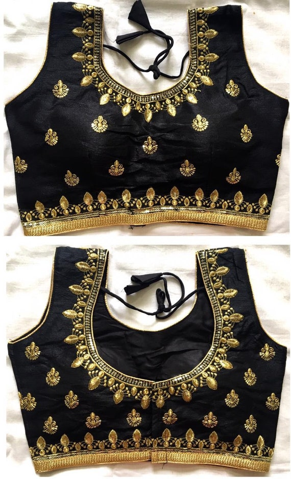 FREE SHIPPING Beautiful Black Colour Readymade Blouse Party Festive Wear For Women Skirt Crop Top Tunic Blouse Readymade Saree Blouse
