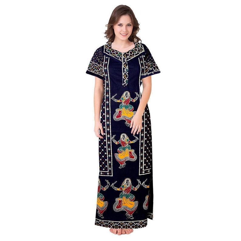 Free Size Women/'s 100/% Soft Cotton NightyNightwearNight DressSleepwearGown Blue Cotton Nighty For Women Fabric Craft For Mom