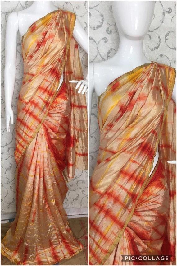 Free Shipping Multicoloured Organza Silk Saree Beautiful Digital Print Pattern Indian Clothing Ethnic Antique Sarong Wedding Wear 5 Yards