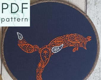 Paisley Fox Embroidery Pattern - PDF - Hand Embroidery - Contemporary Embroidery & Hoop Art - Instant Download