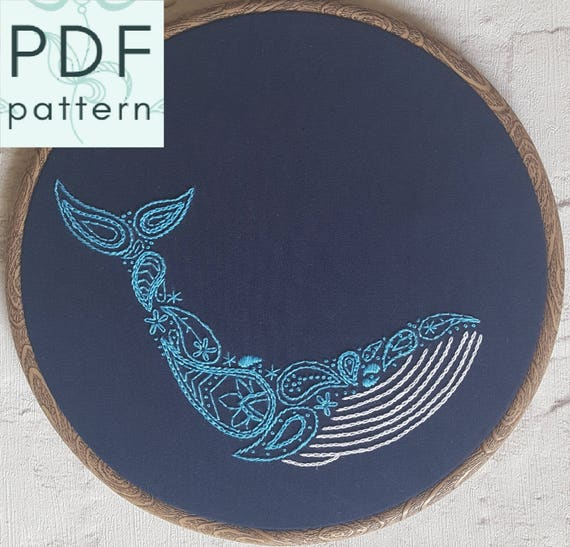 Paisley Blue Whale Embroidery Pattern Pdf Hand Embroidery Contemporary Embroidery Hoop Art Instant Download