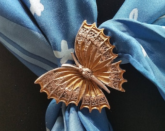 Very Beautiful Two-Tone Metal Butterfly Scarf Clip/Brooch