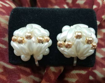 Beautiful Beaded Style Clip Earrings with Faux Pearls and Gold Tone Beads