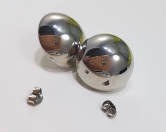 Classic & Elegant, Silver Tone Button Earrings