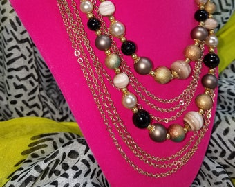 Stunning & Unique Multi-Strand Beaded and Gold Tone Chain Necklace