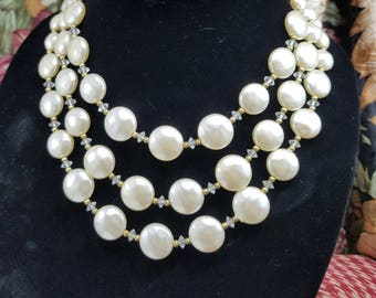 Stunning Mabe Style Faux Pearl Triple Strand Necklace