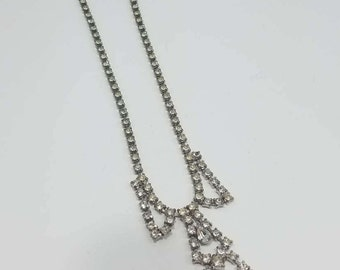 Beautiful Art Deco Rhinestone Necklace with Extender