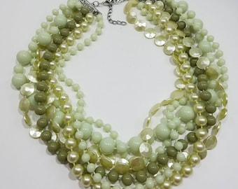 What a Fun Necklace!  Multiple Strands of Pale Green Beads