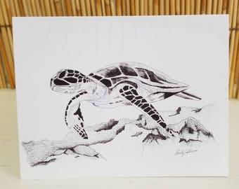 Set of six greeting card hand drawn sea turtle