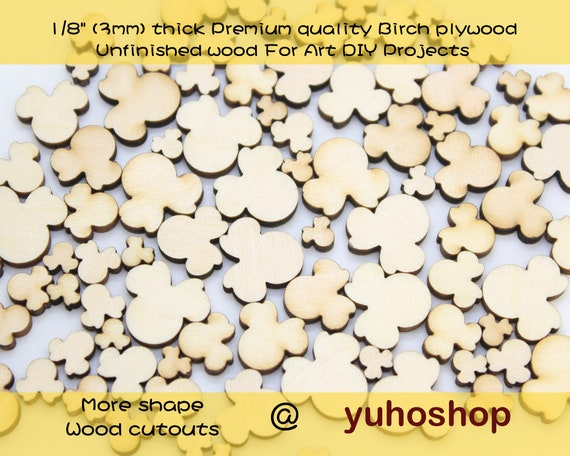 1 to 10 cm MINNIE MOUSE HEAD WOODEN DECOR CRAFT EMBELLISHMENTS SCRAPBOOKING LOVE
