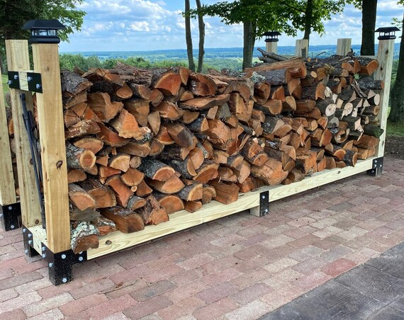 """PostHugger™ 14 Piece Firewood Cradle Wood Log Rack Bracket Set For 4 x 4 Posts - Made From 1/8"""" Plate Steel In USA!"""