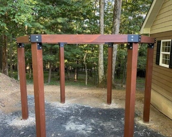 """PostHugger™ 24 pc 6x6 Hexagon Pergola Bracket Set  For 6x6 Posts   1/8"""" Plate Steel Made In USA!"""