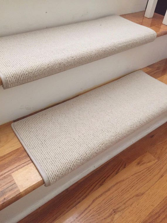 Bristol Ivory New Zealand Wool! - PADDED True Bullnose™ Carpet Stair Tread Runner Replacement for Style, Comfort and Safety (Sold Each)