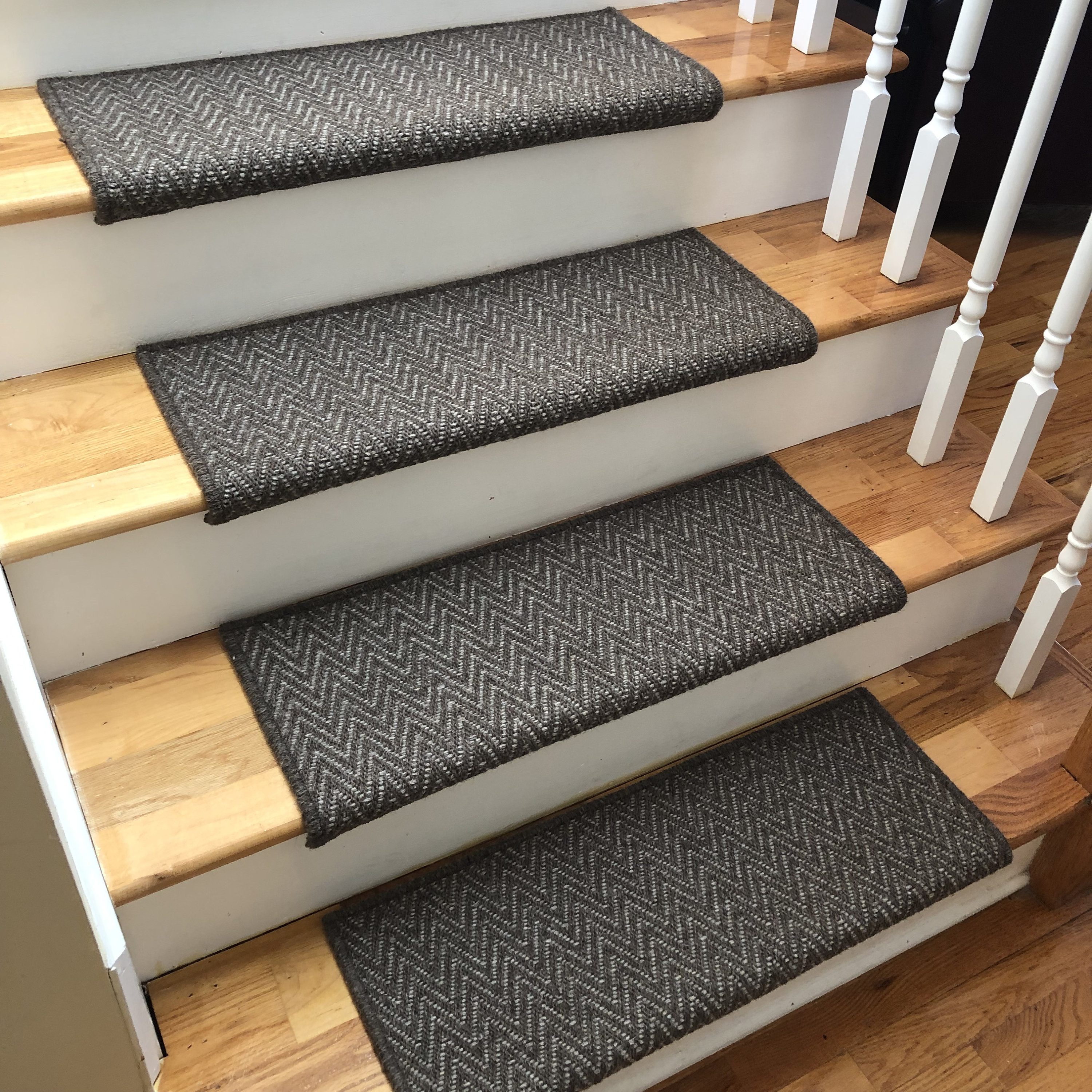 Replacing Carpet With A Stair Runner: Aspen Moose Or Caribou 100% Wool True Bullnose™ Padded