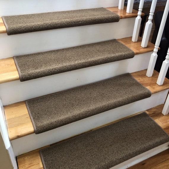 Charade Nutmeg 100% New Zealand Wool! - True Bullnose® Padded Carpet Stair Tread (Sold Each)