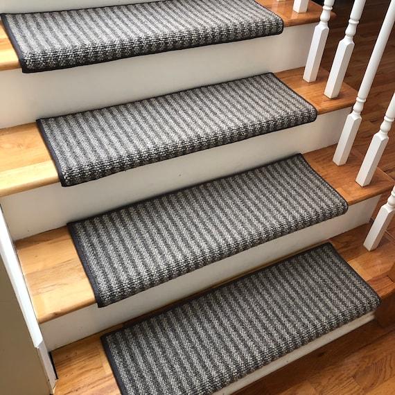 Bozeman 100% Wool True Bullnose® Padded Carpet Stair Tread JMish Handmade Step Cover Comfort Safety Dog Pet Runner - (Sold Per Step/Each)