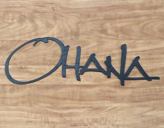 """Hawaiian Ohana 24"""" Wide x 1/8"""" Thick (11 Gauge) Metal Art for Home Office House Cabin Door Wall Sign Indoor or Outdoor"""