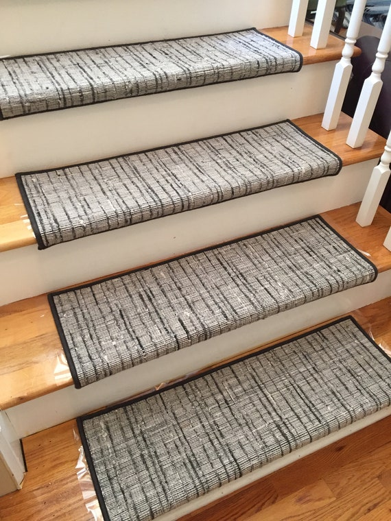 Texture Weave Charcoal (and Other Colors) True Bullnose® Padded Carpet Stair Tread - For Safety Comfort Dog Cat Pet (Sold Each)