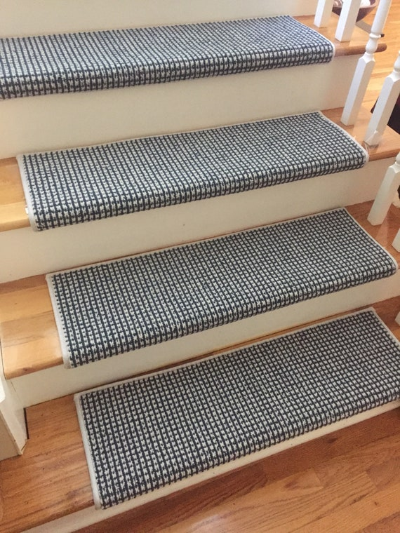 Luxury Cadence Maritime Blue New Zealand Wool True Bullnose® Padded Carpet Stair Tread Runner Replacement Style, Comfort, Safety (Sold Each)