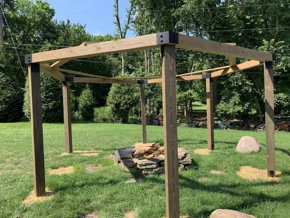 """PostHugger™ 24 pc 4x4 Hexagon Pergola Bracket Set  For 4x4 Posts   1/8"""" Plate Steel Made In USA!"""