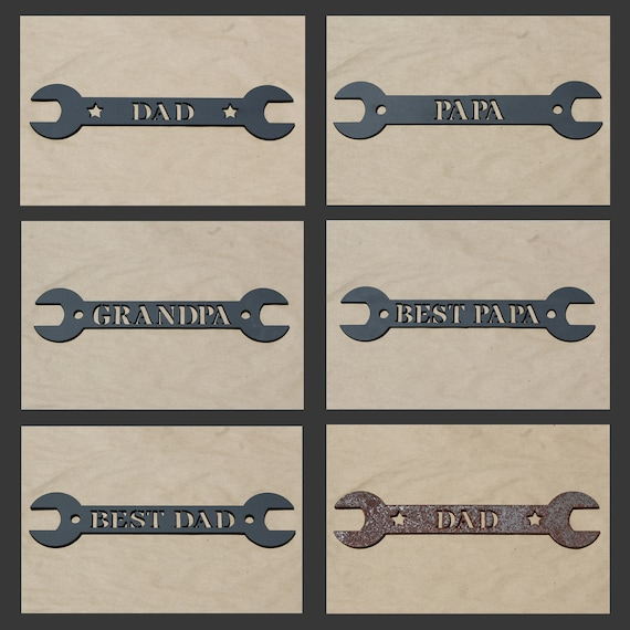 """For Dad-Grandfather! Powder Coated Heavy-Duty 1/4"""" Thick Metal Wrench Wall Desk Sign Art """"Best Dad"""" or """"Dad"""" or """"Papa"""""""