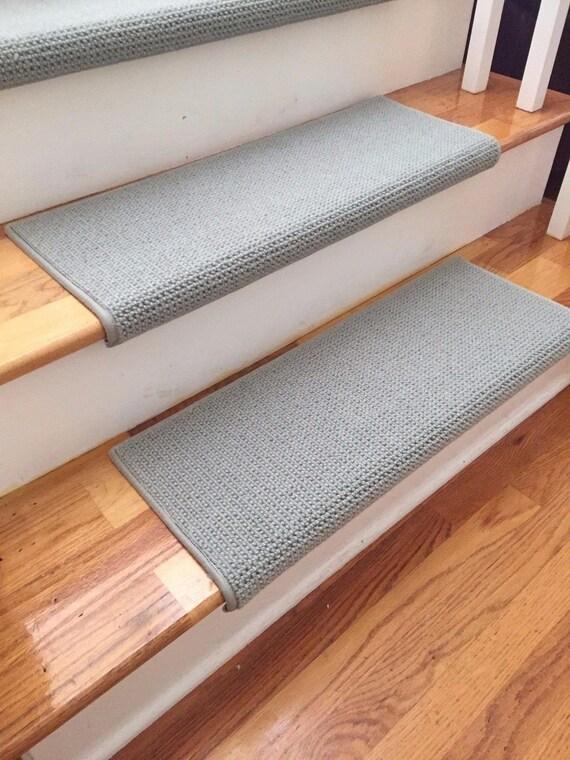 "Open Box Sale! Set of 14 Matrix Seacap 100% Wool PADDED True Bullnose® Stair Treads 31"" Wide X 10"" Deep"