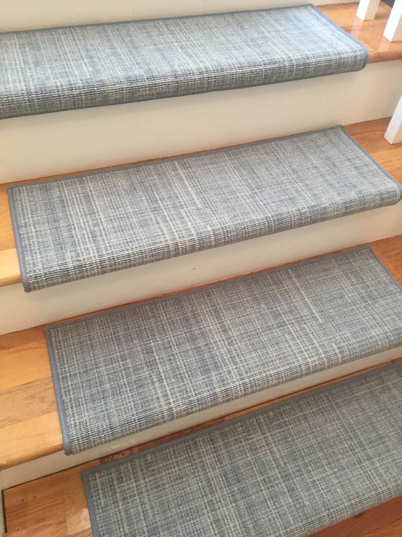 Traverse Chambray (and Other Colors) True Bullnose® Padded Carpet Stair Tread - For Safety Comfort Dog Cat Pet (Sold Each)