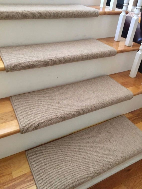 Bristol Tan New Zealand Wool!-True Bullnose® Padded Carpet Stair Tread Runner Replacement for Style, Comfort and Safety (Sold Each)