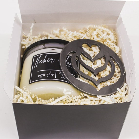 GIFT SET!! Love You a Latte Gift Set! The Perfect Gift of Candle & Unique Hand-Finished Tops/Covers to Help Wax Melt Evenly!