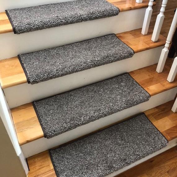 Shaw Coastal Charm Driftwood Flecks of Greys/Brown Short Shag Cut Pile Padded True Bullnose® Carpet Stair Tread Sold Each
