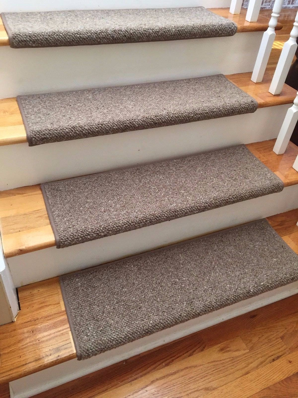 Superior Alfa Brown 100% Wool TRUE Bullnose™ Carpet Stair Tread JMish Handmade Step  Cover Comfort Safety Dog Pet Runner   (Sold Per Step/Each)
