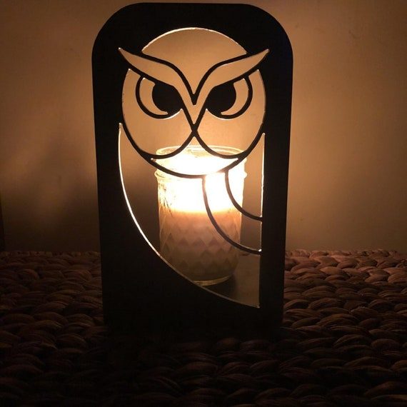 Horned Owl Solid Metal Candle Holder Illuminated Luminary Projector Shadow for All Candles & Tealights