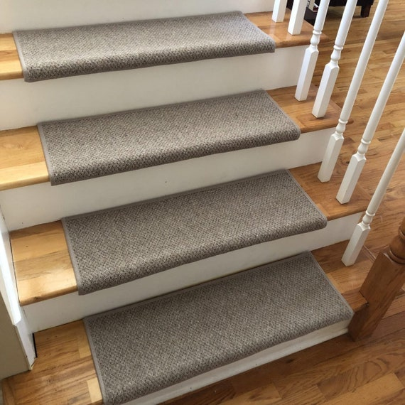 Ready to ship! Windsor Driftwood 100% Wool TRUE Bullnose™ Padded Carpet Stair Tread Pet Safety Runner Replacement (Sold Per Step/Each)