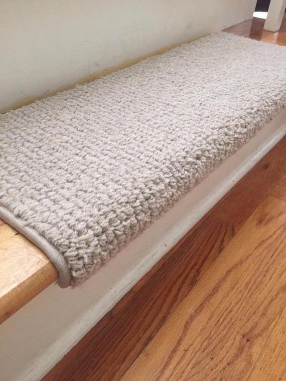 "OPEN BOX SALE! Set of 14 Laredo Corde  Creme  Ecco Tex wool blend -True Bullnose® Stair Treads  - 27"" Wide x 10"" Deep"