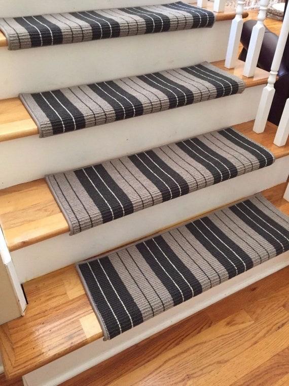 "Open Box Sale! Set of 17 Lauren Mission 100% Wool! True Bullnose™ Stair Treads 31"" wide X 10"" deep"