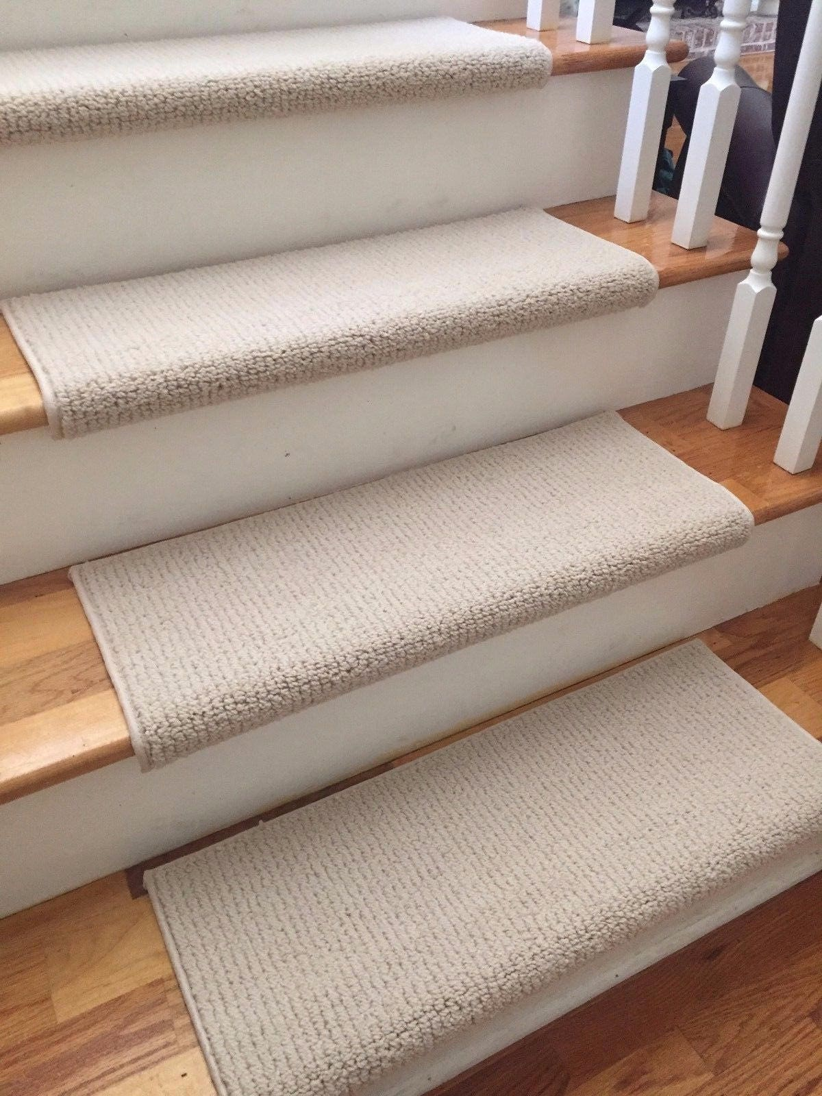 laredo corde ivory new zealand wool true bullnose carpet stair tread runner replacement for style comfort and safety sold each - Bullnose Stair Tread