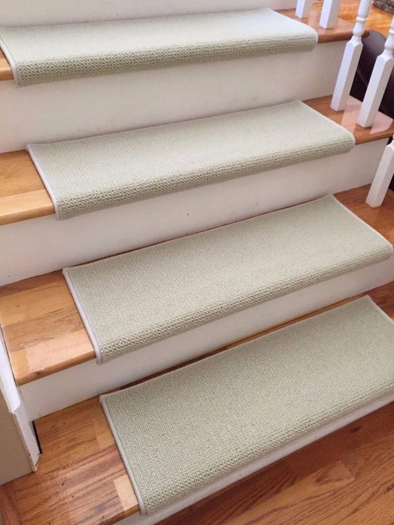 """CLEARANCE BOX SET! Set of 16 Matrix Breath of Spring 100% New Zealand Wool True Bullnose ® Padded Carpet Stair Treads 31"""" wide X 10"""" deep"""
